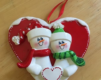 NEW Snowmen Couple Personalized Christmas Ornament