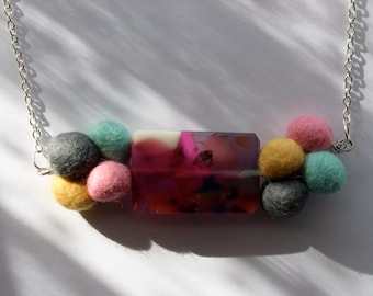 Beautiful Mess Hot Pink and Multicoloured Resin and Felt Pebble Necklace