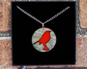 Red Robin / Bird Wood & Acrylic Necklace