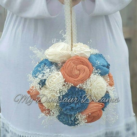 Kissing Ball Flower Girl Sola Flower Ball Wooden Flower