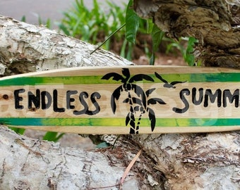 Endless Summer Surfboard Reclaimed Timber Sign, Hand Engraved, Hand Painted, Wood Signs, Beach Signs, Lost in the Wilderness, Surfing Signs