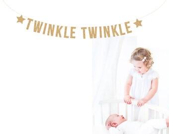 TWINKLE TWINKLE Banner, Glitter Banner. Nursery Banner. Baby Shower Banner, Baby Banner, Baby Room, Baby Nursery, Baby Shower Banner
