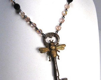 Handmade vintage Bee And Key necklace