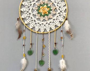"10"" Yellow Flower Vintage Crochet Doily Dream Catcher"