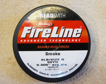 "6 lb Smoke Fireline Braided Beading Thread Size D .008"" Avg Diameter 50 yards"