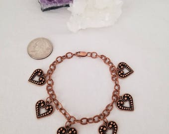 Hammered Copper Charm Bracelet With Copper Heart Charms