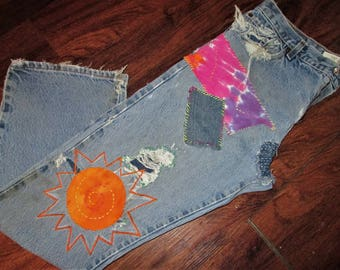 Bootcut Levis Jeans / Patched Jeans / Distressed Levis Jeans /  Hippie Jeans / Boho Jeans / Grunge Jeans / Shredded Jeans / 34X32