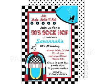 50's Sock Hop Invitation | Printable OR Professionally Printed | 5x7