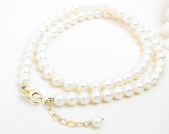 6.5mm Real Pearl Necklace with Gold-Filled Clasp - Freshwater Pearl Necklace Gold Clasp - Classic Single Strand Pearls with Gold Clasp