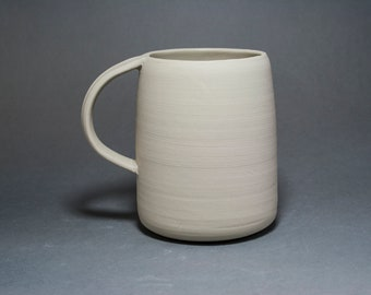 Large handmade coffee cup. Modern Pottery 16 oz tea mug. Rustic ceramic . Cream White matte dinnerware. Anniversary gift for parents 30th.