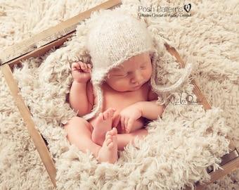 Knitting PATTERN - Knit Earflap Hat Pattern - Baby Hat Knitting Pattern - Knitting Patterns Hats - Includes 3 Sizes - Photo Prop - PDF 144