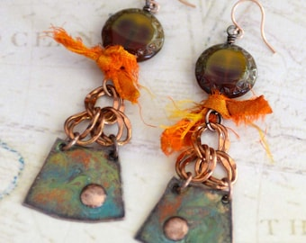 Summer Boho Earrings, Rustic Earrings, Copper Enamel Earrings with Czech Glass and Silk Sari Ribbon, Fun Summer Earrings, Textile Jewelry