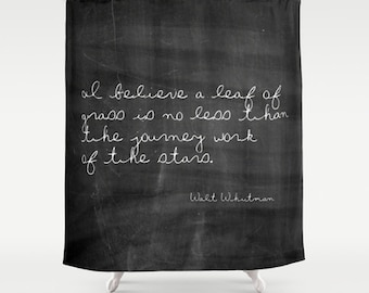 Walt Whitman Inspirational Quote Shower Curtain, Rustic Shower Curtain, Farmhouse Decor, Cottage Chic, Country Decor, Shabby Chic, Black