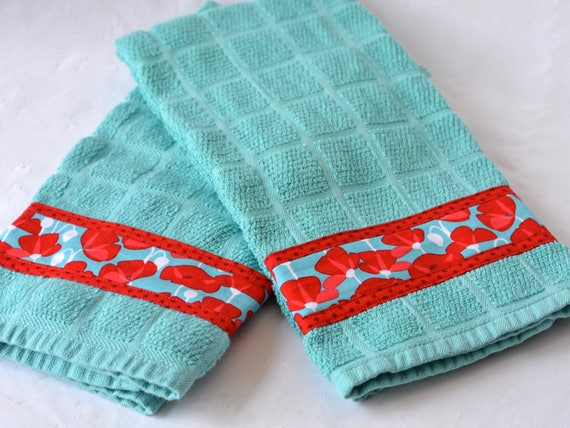 Turquoise Kitchen Decor, 2 Hand Decorated Towels, Set of Two Cotton Turquoise and Red Tea Towels, Lovely Aqua Dish Cloths