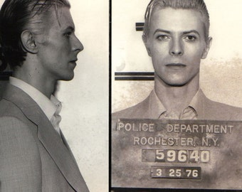 REMASTERED David Bowie MUGSHOT Poster Print Black and White Photograph Bowie Portrait 1970's (Various Sizes)
