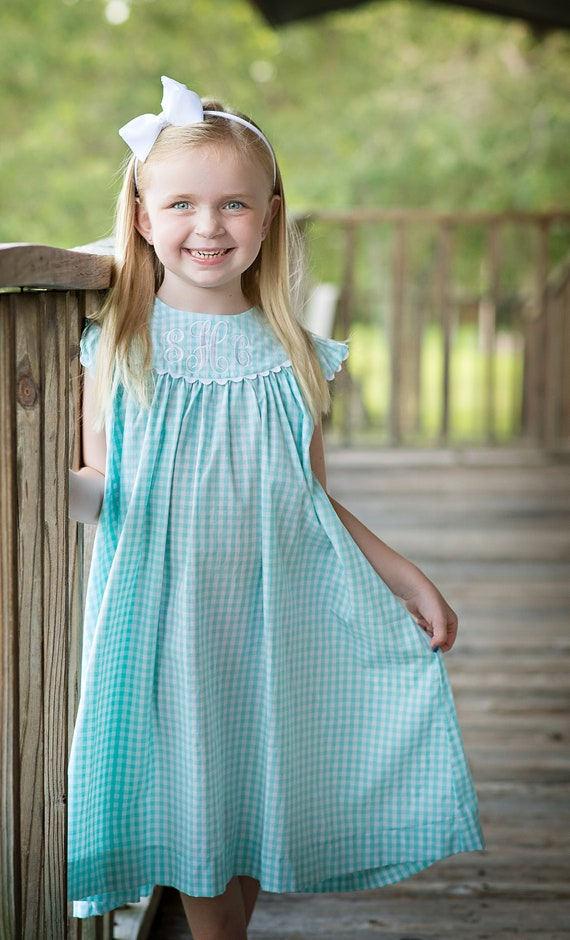 Girls Monogrammed Dress, Seafoam / Mint Gingham Perfect for Family Beach Photos