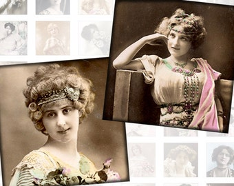 Victorian and edwardian Vintage ladies digital collage sheet 1x1 inches Vol. 2 (156) Buy 3 - get 1 free