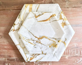 10.5in Mod Marble Hex Dinner Collection. Marble Party Decor. White and Gold or Silver Paper Party Plates. Disposable Plates.