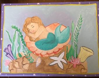 Mermaid painting canvas wall art decor