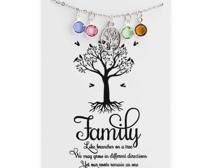 Family Tree Necklace - Personalized Family Jewelry - Mothers Necklace - Grandmothers Jewelry - Gift for Grandmother - Mothers Day jewelry