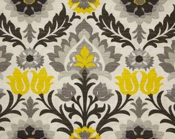 """Two 96"""" x 50""""  Custom Curtain Panels  -  Indoor Outdoor - Large Floral Damask - Licorice Black Yellow Grey Ivory"""