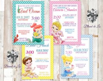 Disney Princess Baby Shower Invitations Thank You Cards Prints Belle Cinderella AAurora Ariel Little Mermaid Sleeping beauty Prints Only