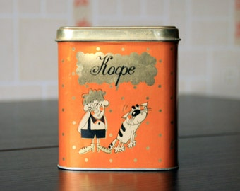 Tin box vintage Kitchen decor orange Can vintage Tin container Tin box for kitchen Housewares box Can retro Soviet vintage decor Ussr