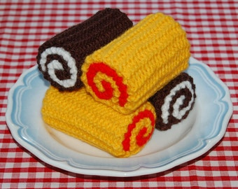 Knitting Pattern for Swiss Rolls / Chocolate Rolls / Cakes - Knitted Cakes, Toy Food