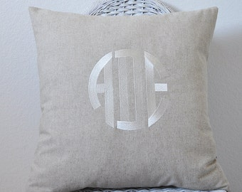 Monogrammed Pillow in Natural Linen Weave WITH INSERT Shower Gift Wedding GIft  Personalized Pillow Cover  Choose Your Size and Style