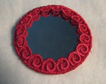 Fleur de Lis Lace Hot Pink Pocket Mirror