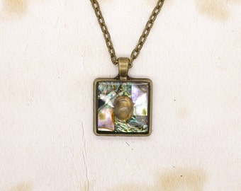 Paua Abalone Shell & Labradorite In Resin Cabochon Pendant On Bronze Tone Necklace