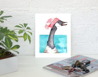 Canada Goose in Canada Toque - Large Fine Art Print of original watercolor painting - Canada Day Special Gift nursery wall art decor birds
