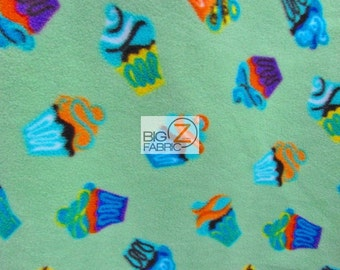 "Print Polar Fleece Fabric - Cupcakes All Over Mint - Sold By The Yard 60"" Width (929)"