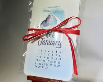 Desk Calendar | Cute painted designs | Yosemite | Mountains | rounded corners | mini easel | cute calendar | calendar | multiyear | office