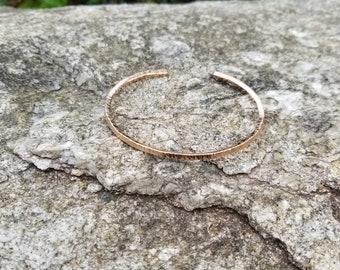 14k rose gold filled textured bangle
