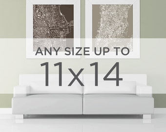 """11 x 14"""" Cityscape Art Print : choisissez n'importe quelle ville dans le magasin"""