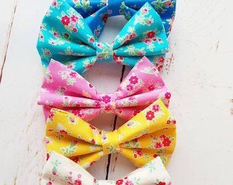 Girls floral cotton bow summer brights