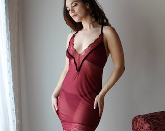 sheer slip nightgown or chemise with lace trim plunging neckline  JESTER - made to order