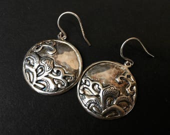 Pretty Sterling Silver Dangling Earrings with Organic Design