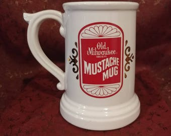 Old Milwuakee Beer Mustache Mug, Advertising Collectable