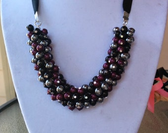 Black, Gray, and Blackberry Pearl Cluster Necklace
