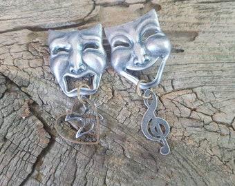Susan C. Richardson Theater Mask Pewter Earrings, 1992, Richardson, Silver Pewter Earrings, Theater Mask Earrings