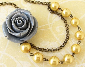 Yellow Necklace Bridal Jewelry Resin Flower Necklace Beaded Necklace Grey Necklace Bridesmaid Gift