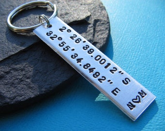 Custom Keychain, Coordinate Keychain, Boyfriend Gift, Girlfriend Gift, Couples Keychain, Gift for Him, Gift for Her, Couples Gift, Mom, Dad