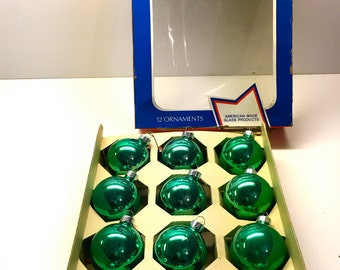 Vintage Christmas Ornaments, Box Set Of Green Glass - Made in the USA