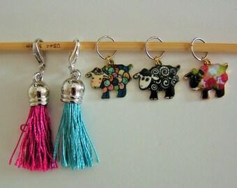Snag-free Stitch Marker Set Sheep Charm  Removable Tassal!