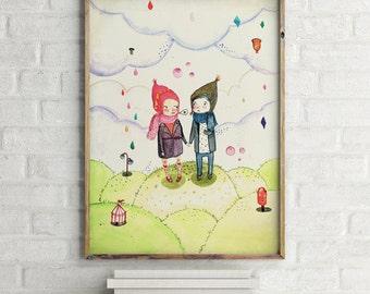 Winter love, Art for girls room, girls room decor, girls room art, art for kids room, girls wall art, art for girls, wall art for girls