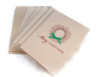 Christmas Cards, Merry Christmas, Rustic Christmas Card, Primitive Wreath Card, Holiday Card Set, Xmas Card, Blank Card Set, Gift Enclosures
