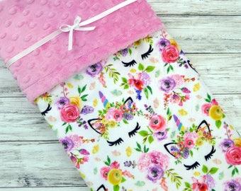 Unicorn Baby Blanket - Baby Girl - Floral Unicorn Blanket - Unicorn Blanket - Baby Girl Blanket - Baby Blanket Girl - Unicorn Baby Shower