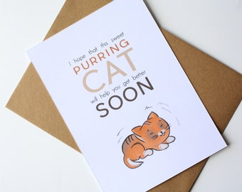 Get well cat card - I hope that this sweet purring cat will help you get better soon